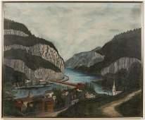 AMERICAN SCHOOL (19TH CENTURY) FOLK ART HARPER'S FERRY,