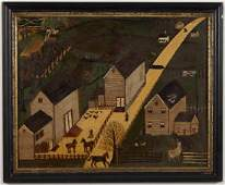 AMERICAN SCHOOL (20TH CENTURY) FOLK ART LANDSCAPE