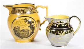 ENGLISH SILVER LUSTRE CERAMIC PITCHERS, LOT OF TWO