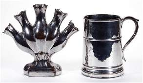 ENGLISH SILVER LUSTRE CERAMIC ARTICLES, LOT OF TWO