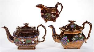 ENGLISH COPPER LUSTRE HAND-PAINTED CERAMIC ARTICLES,