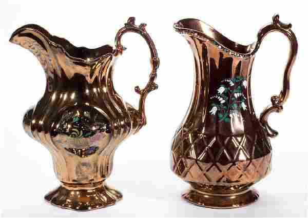 ENGLISH COPPER LUSTRE CERAMIC PITCHERS, LOT OF TWO