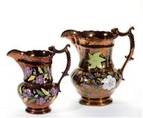 ENGLISH COPPER LUSTRE HAND-PAINTED CERAMIC PITCHERS,