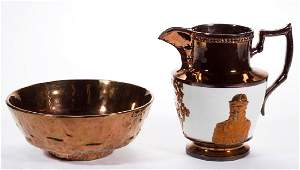 ENGLISH COPPER LUSTRE CERAMIC ARTICLES, LOT OF TWO
