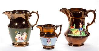 ENGLISH COPPER LUSTRE CERAMIC PITCHERS LOT OF THREE
