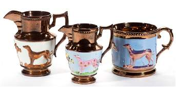ENGLISH COPPER / PINK LUSTRE CERAMIC ARTICLES, LOT OF