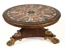 AMERICAN OR EUROPEAN CLASSICAL PIETRA DURA CENTER TABLE