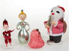 VINTAGE FIGURAL CHRISTMAS ORNAMENTS, LOT OF FOUR