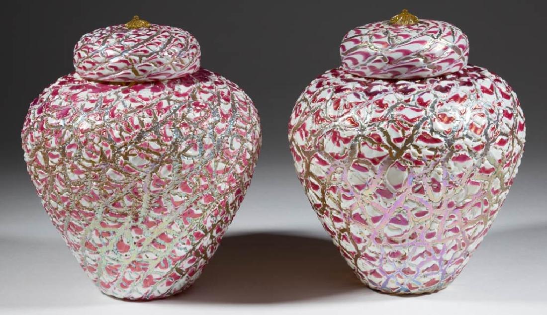 DURAND MOORISH CRACKLE ART GLASS PAIR OF GINGER JARS,