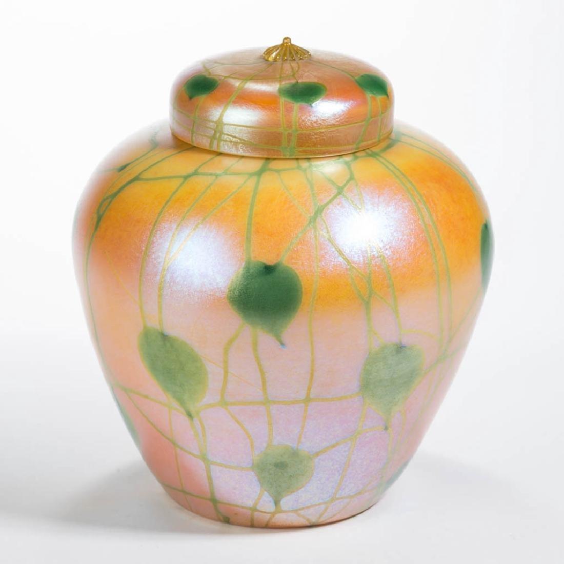 DURAND HEART AND VINE ART GLASS GINGER JAR