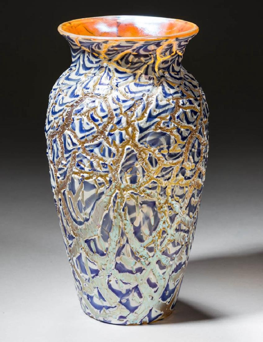 DURAND ATTRIBUTED MOORISH CRACKLE ART GLASS VASE
