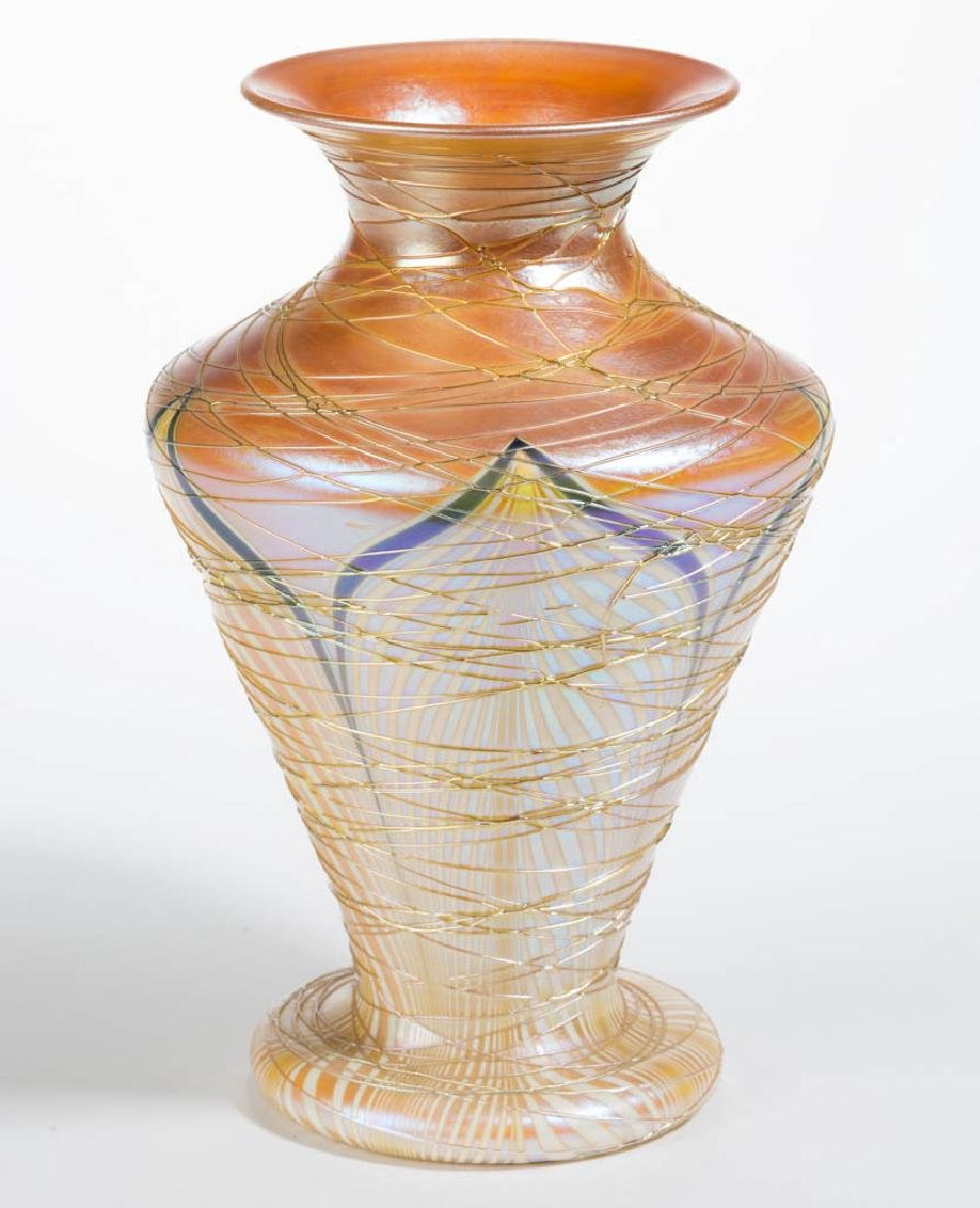 DURAND ATTRIBUTED PULLED FEATHER ART GLASS VASE - 2