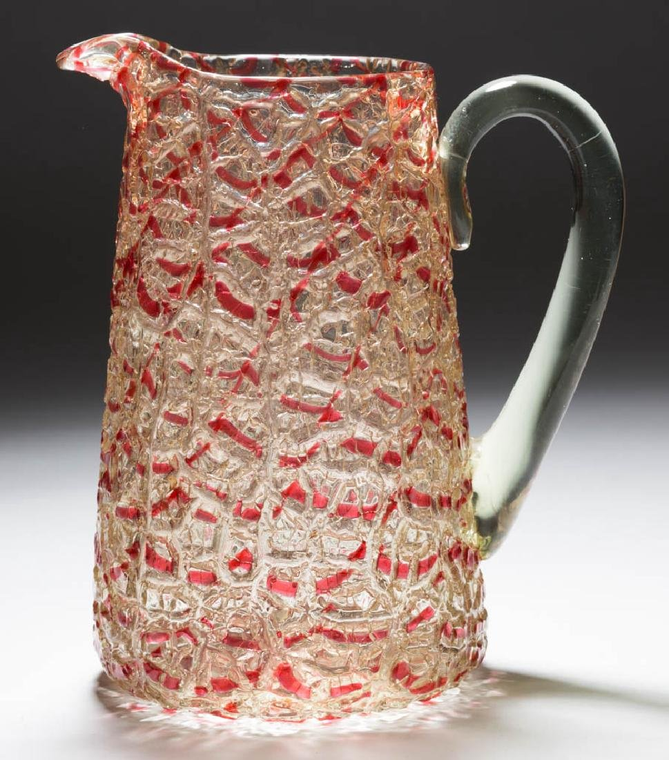 DURAND ATTRIBUTED CRYSTAL CRACKLE ART GLASS PITCHER