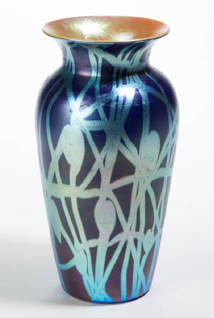 DURAND ATTRIBUTED HEART AND VINE ART GLASS VASE