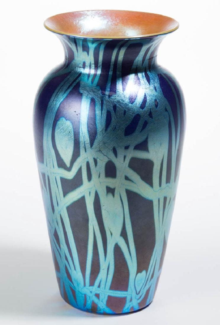 DURAND ATTRIBUTED HEART AND VINE ART GLASS VASE - 3