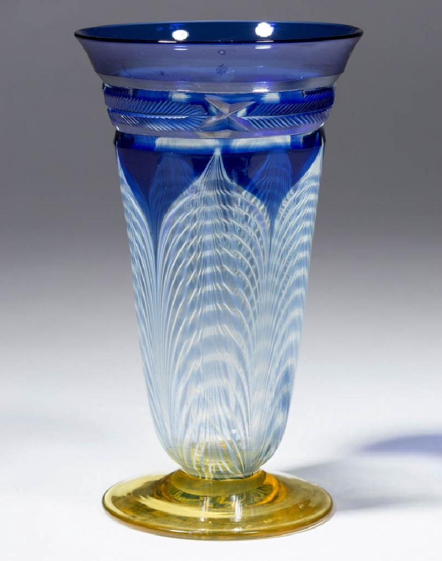 DURAND ATTRIBUTED PEACOCK FEATHER - CUT GLASS ICED TEA