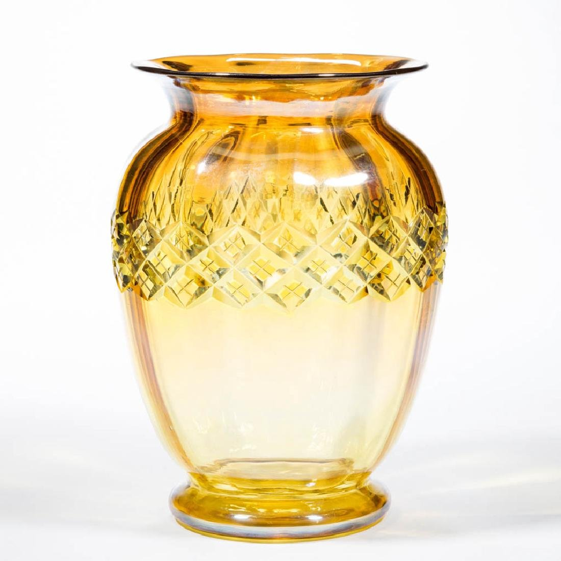DURAND ATTRIBUTED YELLOW LUSTRE - CUT GLASS VASE