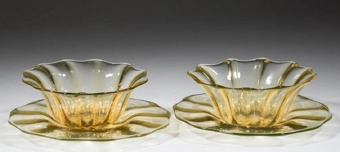DURAND ATTRIBUTED RIBBED-OPTIC ART GLASS FINGER BOWLS