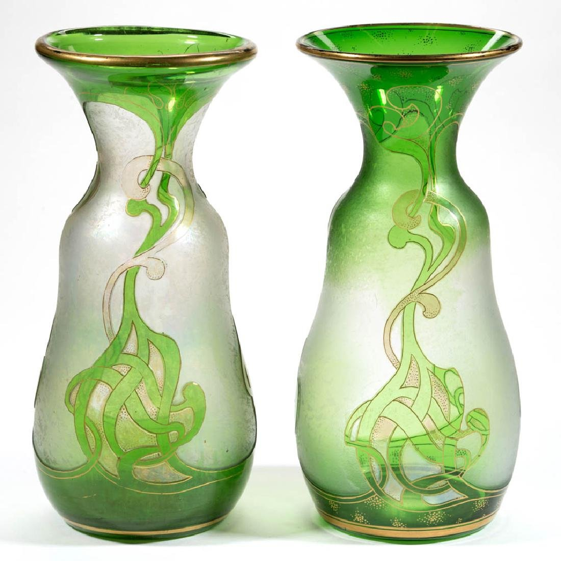 DORFLINGER HONESDALE CAMEO ART GLASS NEAR PAIR OF VASES