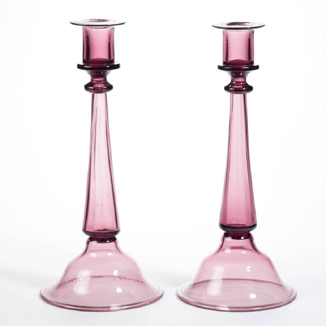 DORFLINGER VENETIAN ART GLASS PAIR OF CANDLESTICKS
