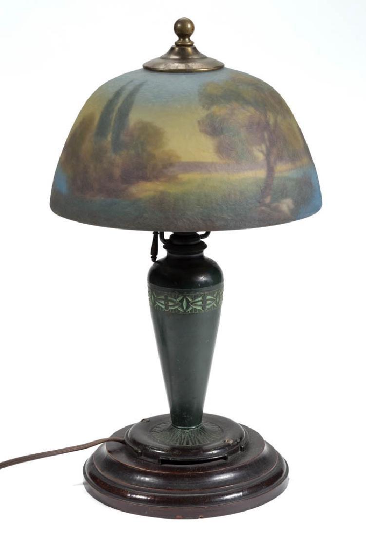 MOE BRIDGES REVERSE PAINTED ART GLASS TABLE LAMP