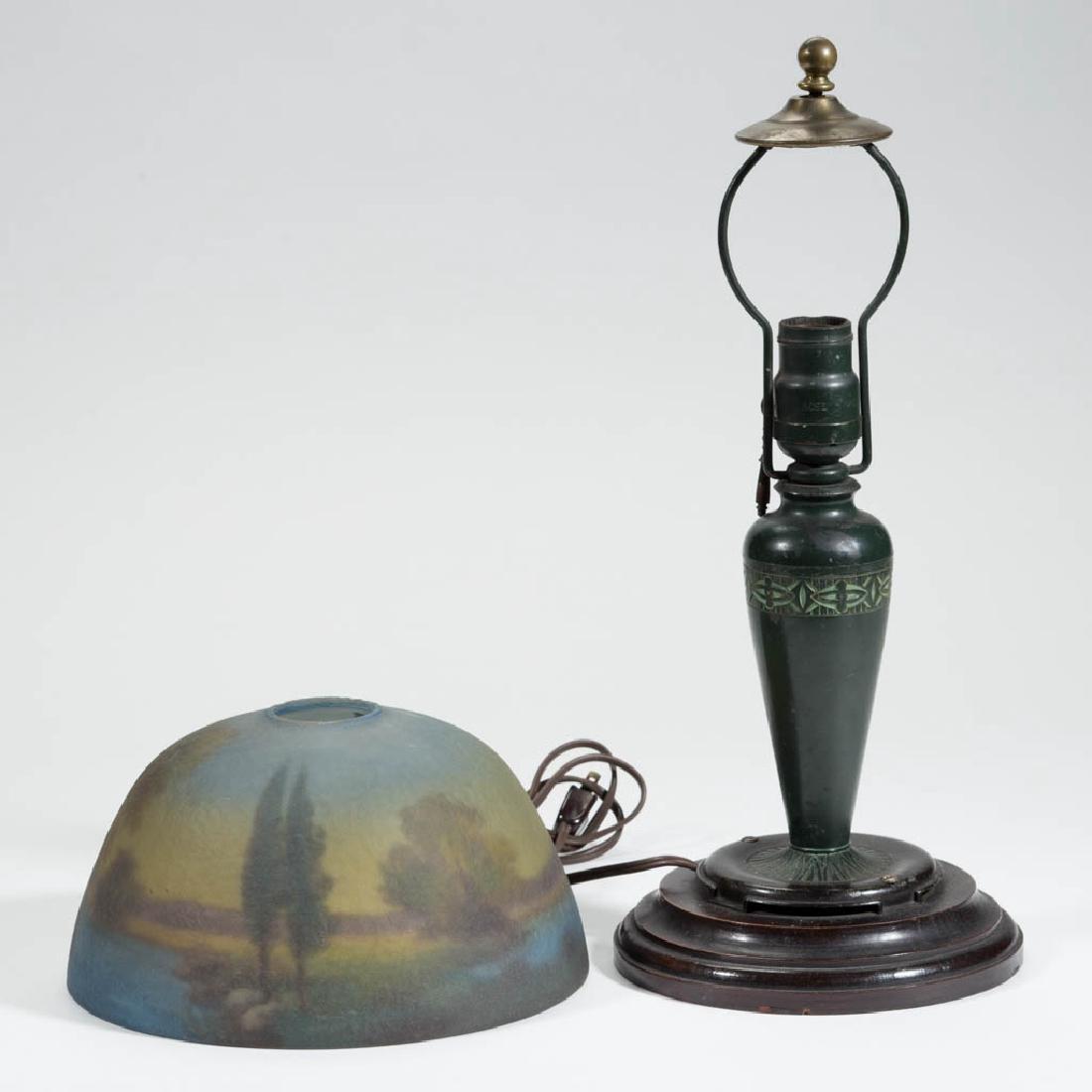 MOE BRIDGES REVERSE PAINTED ART GLASS TABLE LAMP - 2