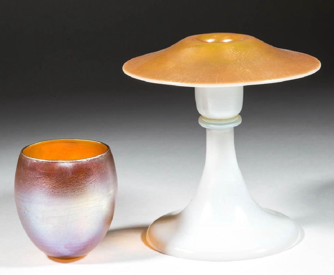 STEUBEN GOLD CALCITE ART GLASS CANDLESTICK