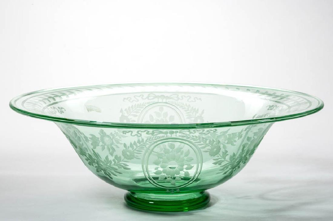 STEUBEN POMONA GREEN ART GLASS - ENGRAVED FOOTED