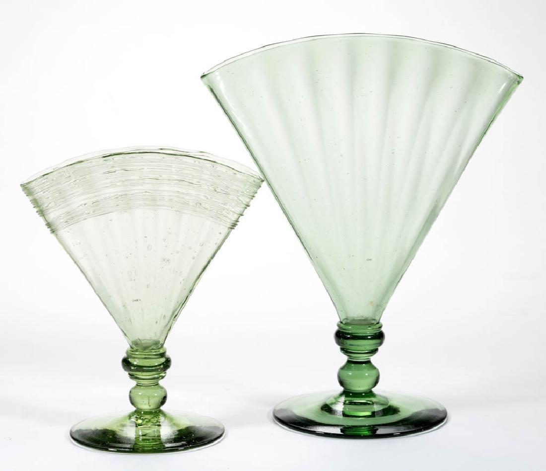 STEUBEN PANEL-OPTIC ART GLASS FAN VASES, LOT OF TWO