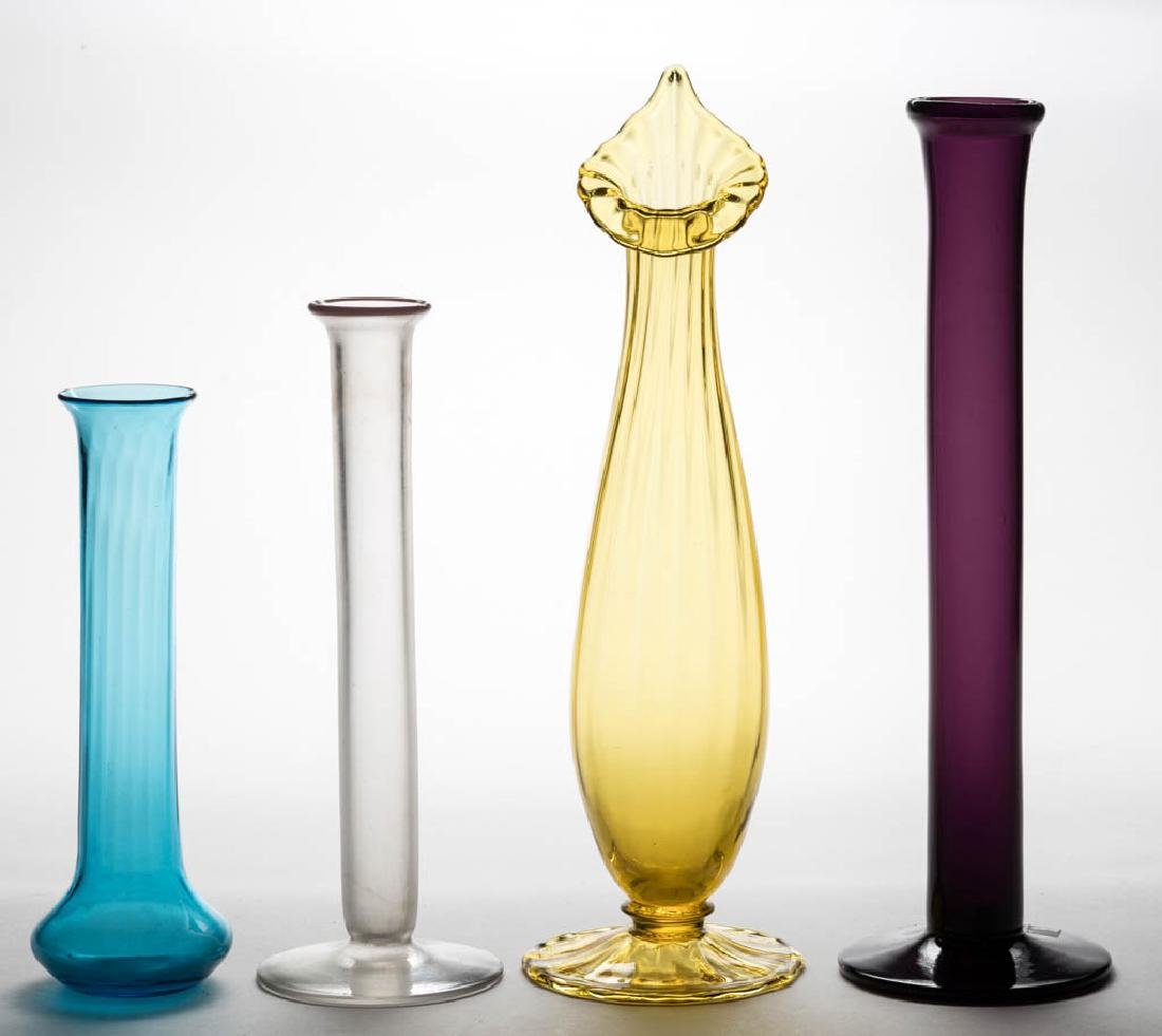 STEUBEN ART GLASS STICK VASES, LOT OF FOUR