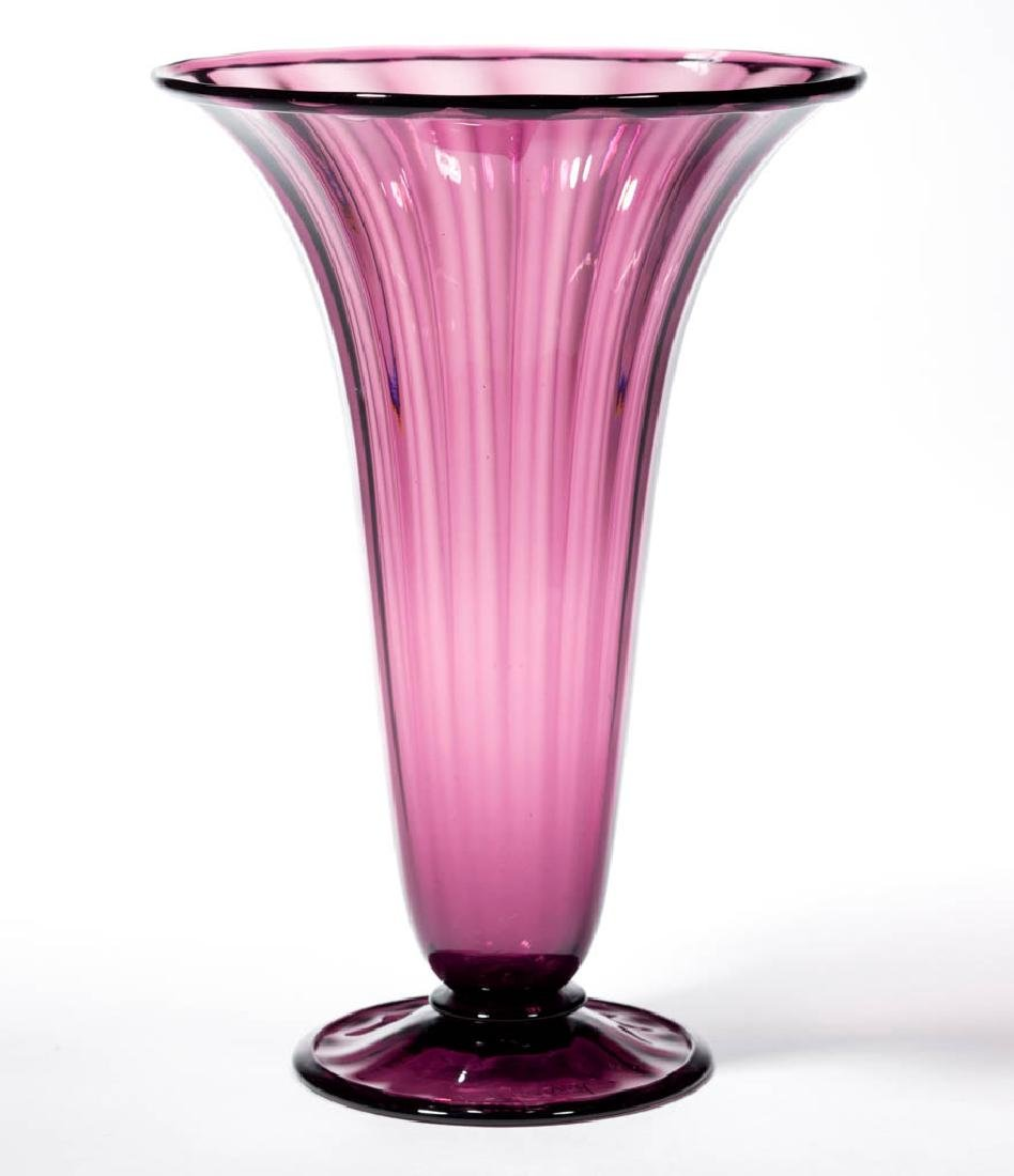 STEUBEN RIBBED-OPTIC ART GLASS TRUMPET VASE