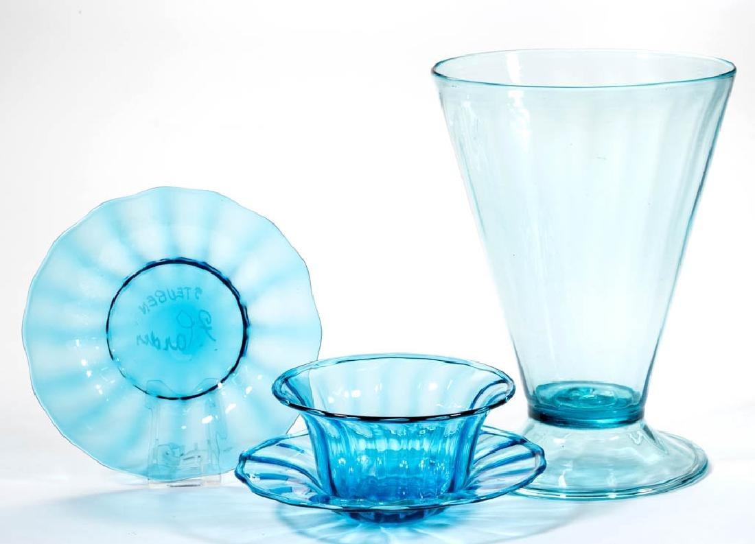 STEUBEN PANEL-OPTIC ART GLASS ARTICLES, LOT OF FOUR