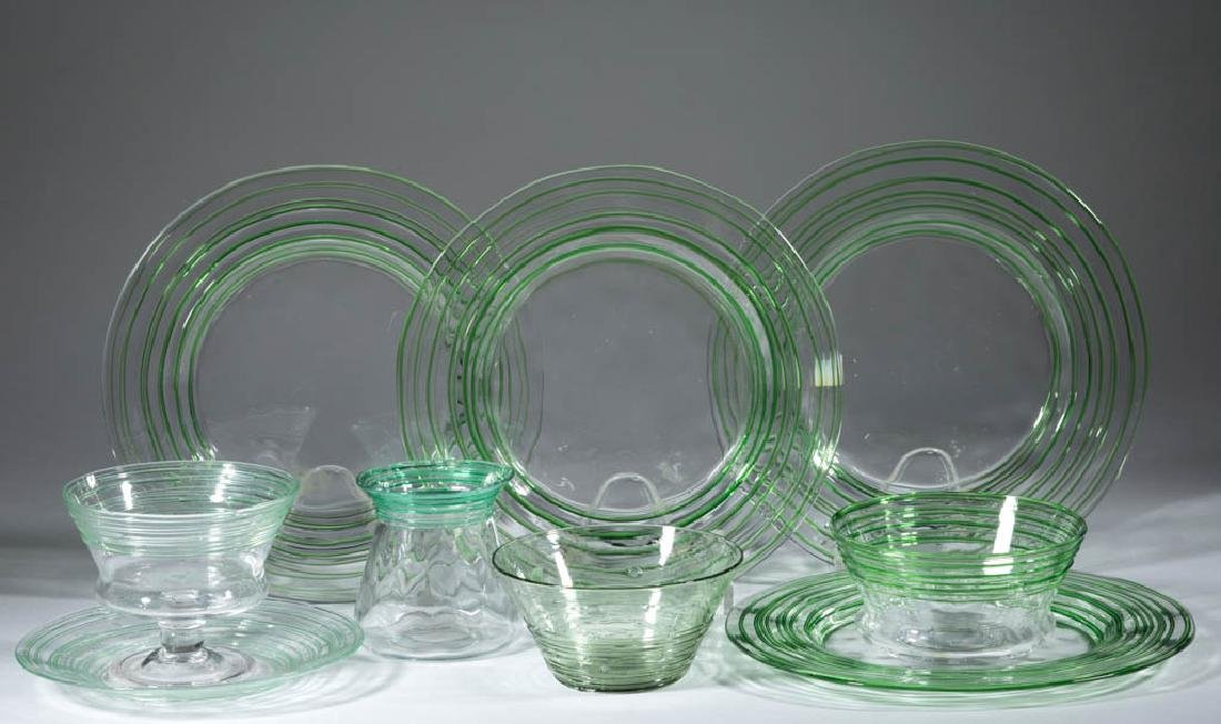 STEUBEN REEDED ART GLASS ARTICLES, LOT OF NINE
