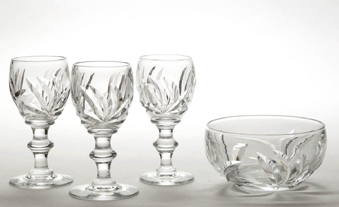 STEUBEN LEAVES ART GLASS - CUT ARTICLES, LOT OF FOUR
