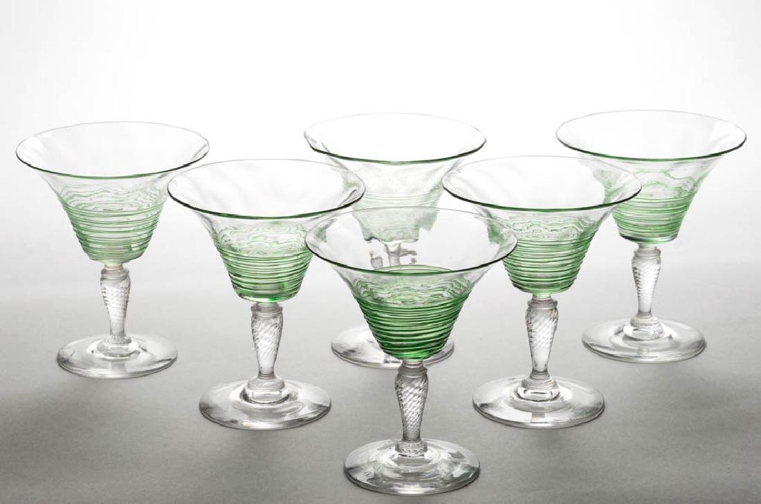 STEUBEN DIAMOND-OPTIC AND REEDED ART GLASS WINES, LOT