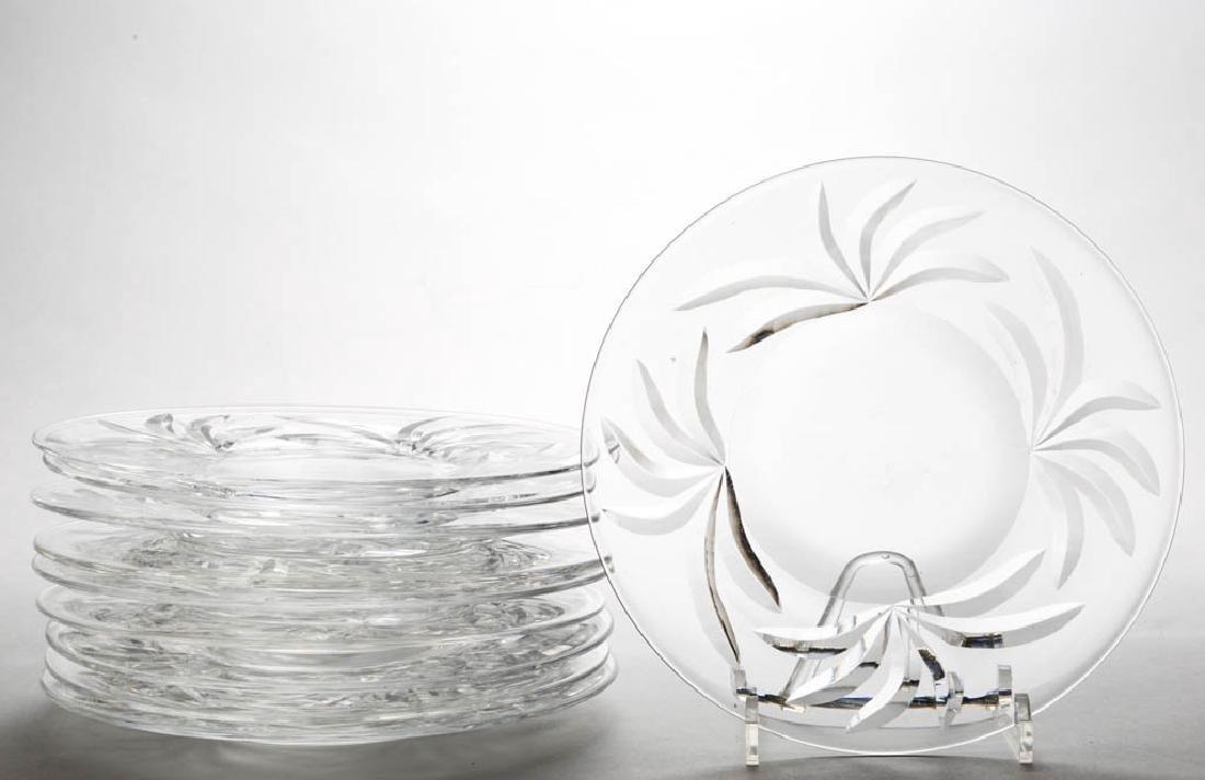 STEUBEN LEAVES ART GLASS - CUT PLATES, LOT OF TEN