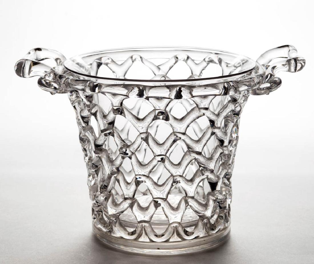 STEUBEN LATTICED ART GLASS BASKET
