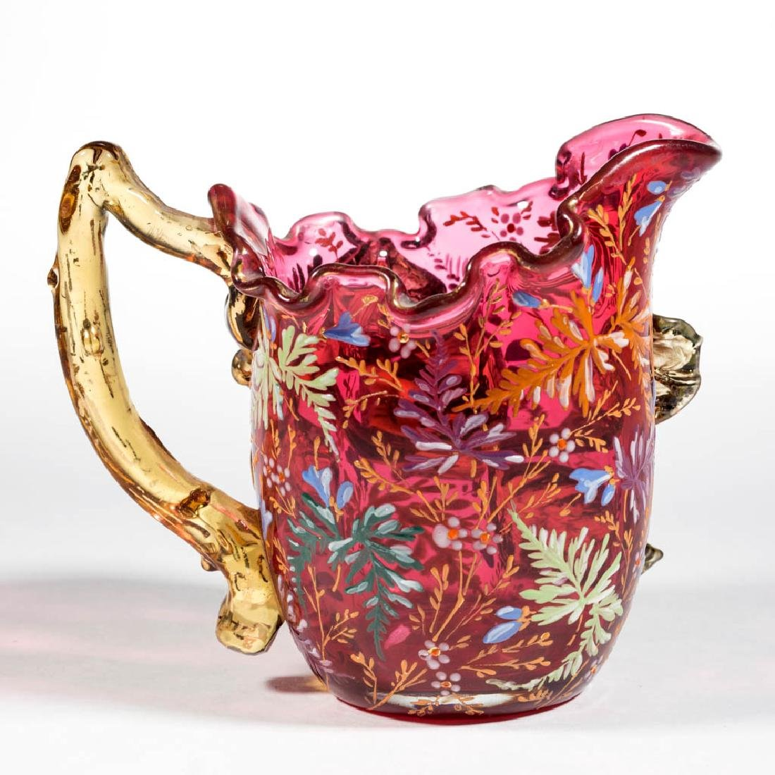 MOSER ATTRIBUTED ENAMEL-DECORATED CREAMER - 2