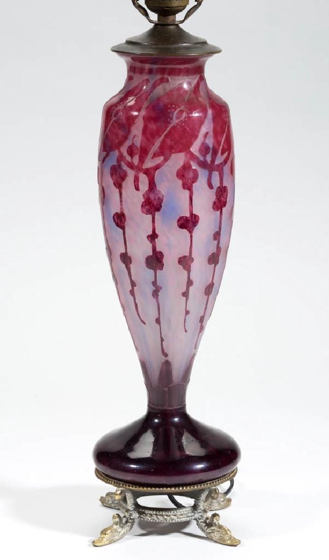 SCHNEIDER PAVOT ART-DECO CAMEO ART GLASS LAMP BASE