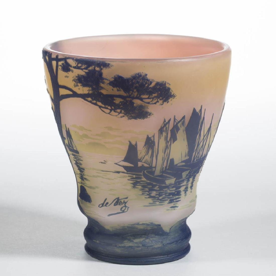 DEVEZ TRI-COLOR LANDSCAPE CAMEO ART GLASS VASE