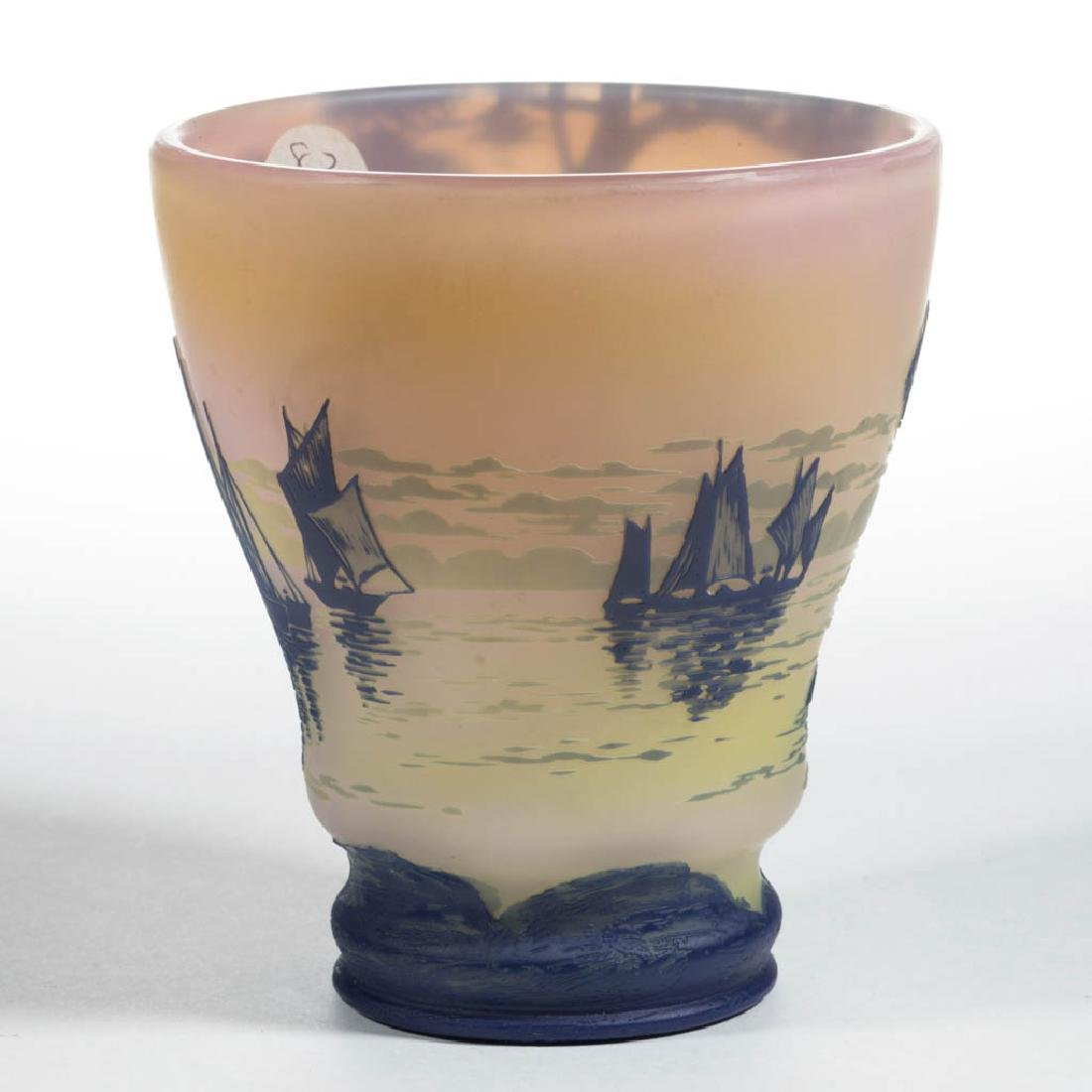 DEVEZ TRI-COLOR LANDSCAPE CAMEO ART GLASS VASE - 2