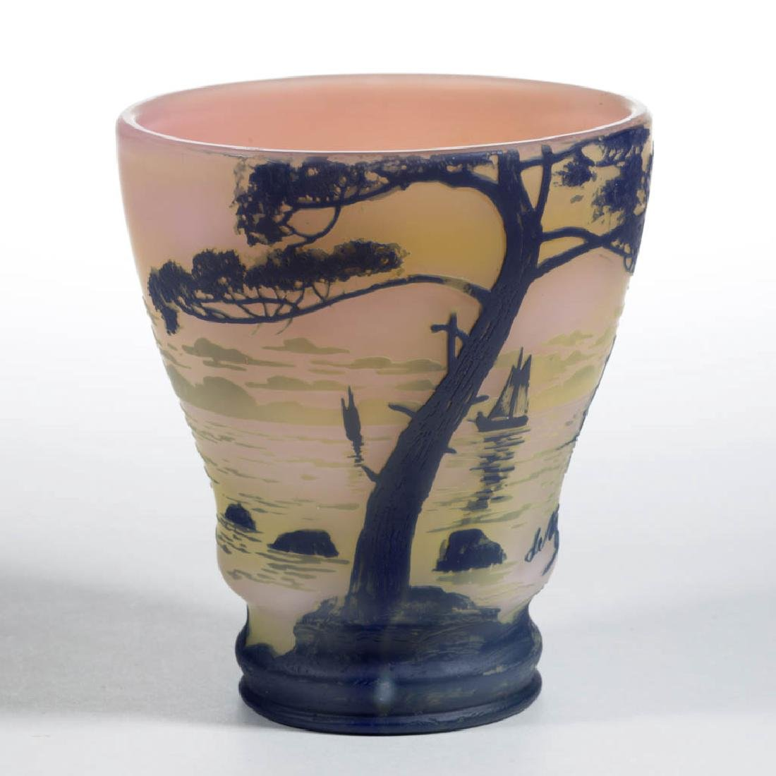 DEVEZ TRI-COLOR LANDSCAPE CAMEO ART GLASS VASE - 3