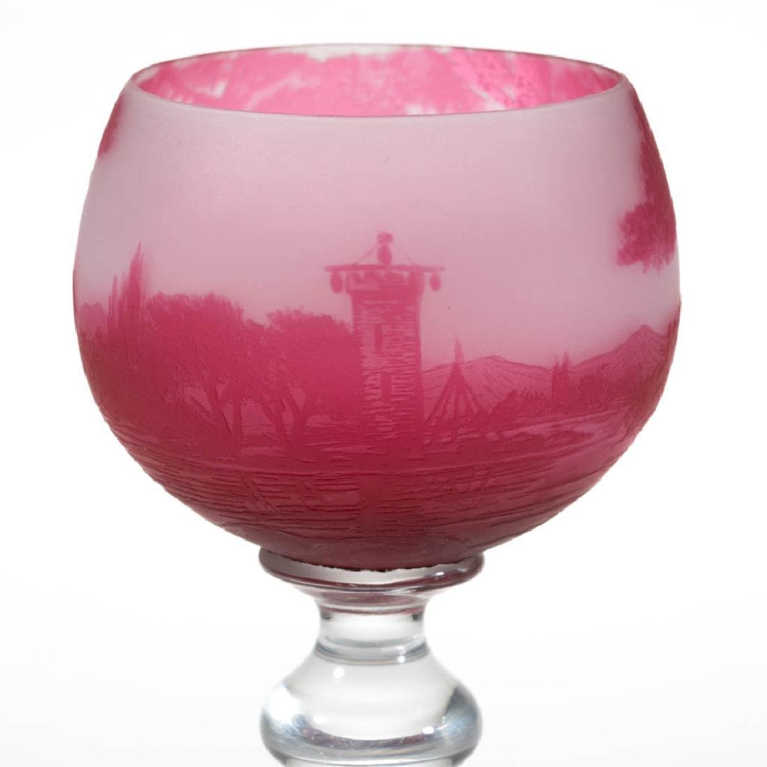 RICHARD LANDSCAPE CAMEO ART GLASS GOBLET - 2