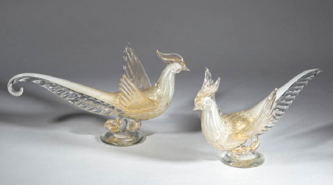 MURANO ART GLASS FIGURAL BIRD PAIR OF SCULPTURES