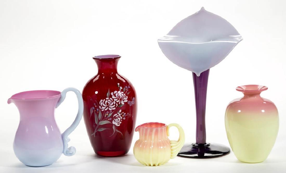 ASSORTED ART GLASS ARTICLES, LOT OF FIVE