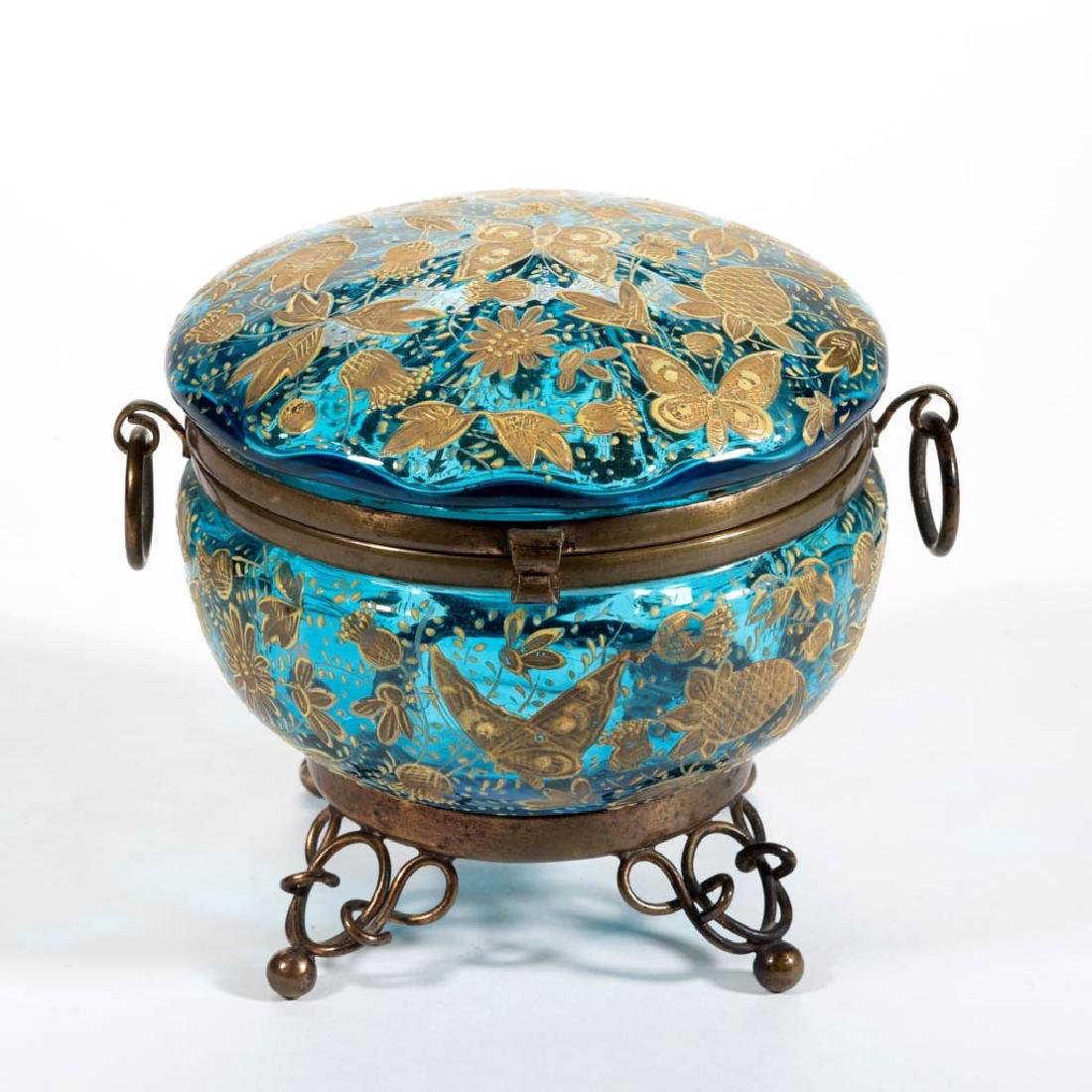 VICTORIAN ENAMEL DECORATED COVERED BOX