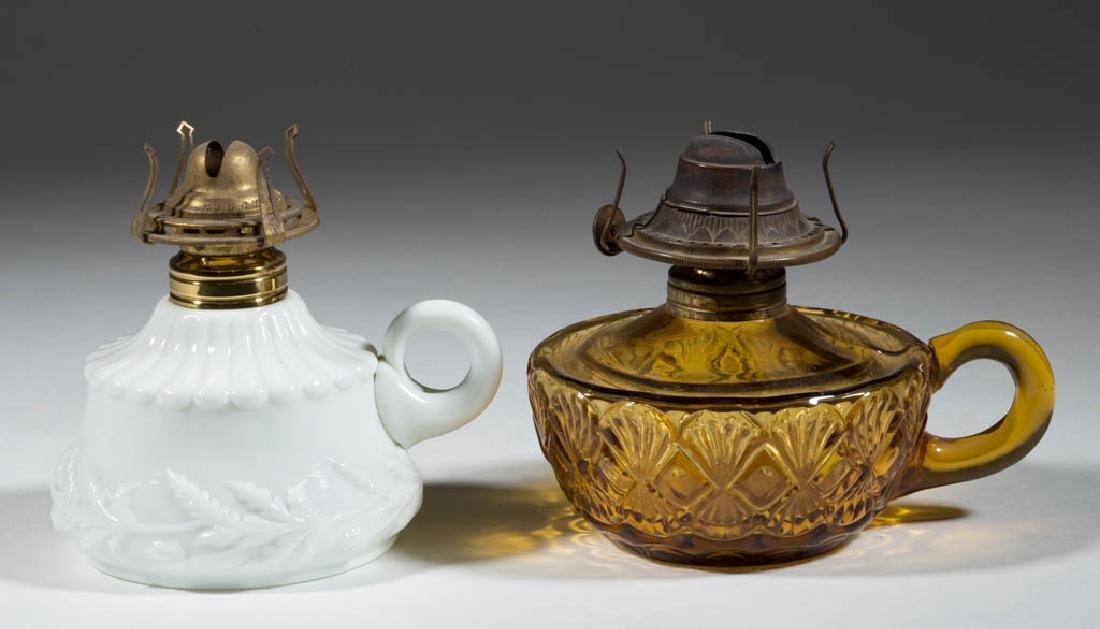 ASSORTED GLASS KEROSENE FINGER LAMPS, LOT OF TWO