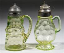 ASSORTED VASELINE SPOT-OPTIC GLASS SYRUP PITCHERS, LOT