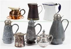 ASSORTED METAL SYRUP PITCHERS, LOT OF EIGHT