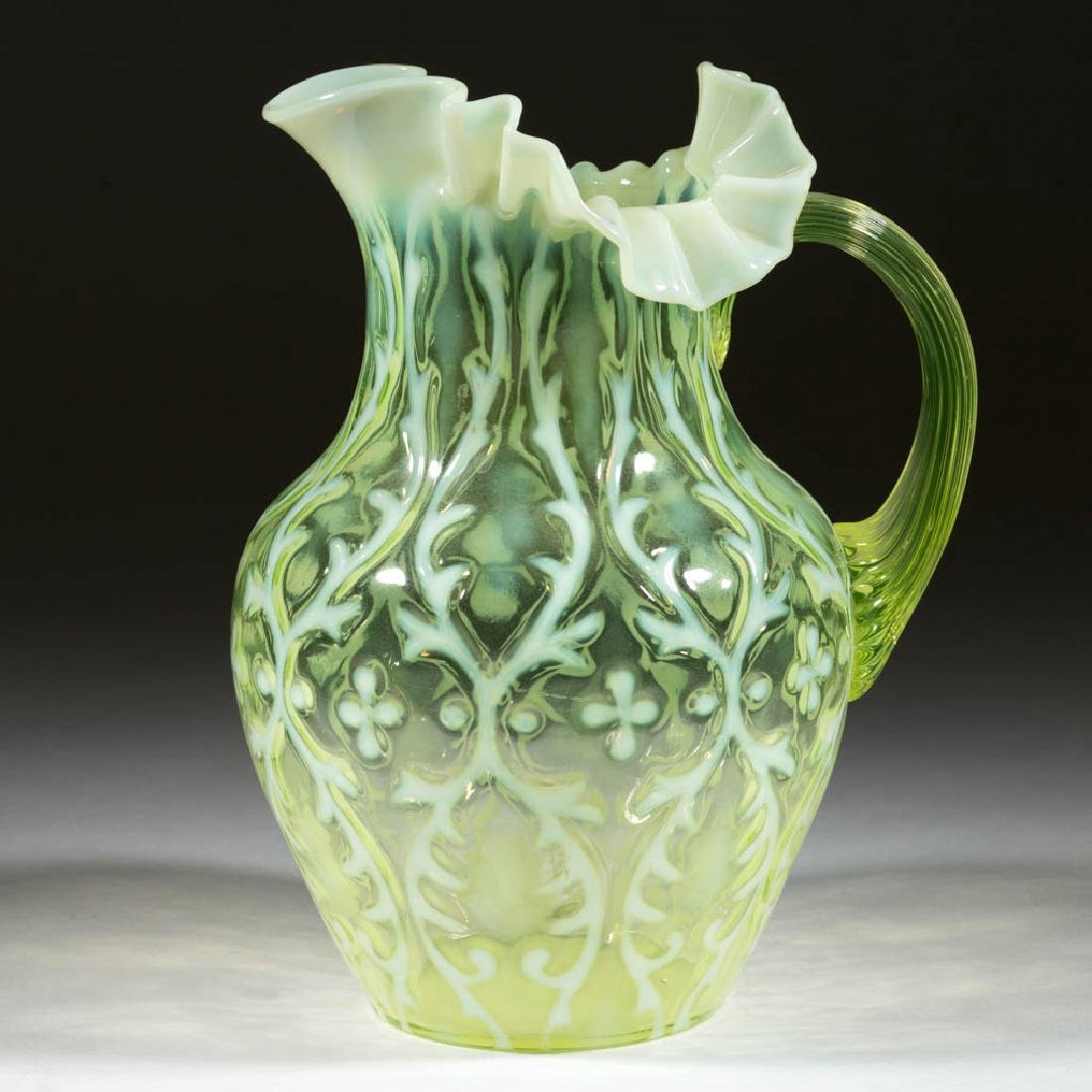 OPALINE BROCADE / SPANISH LACE WATER PITCHER
